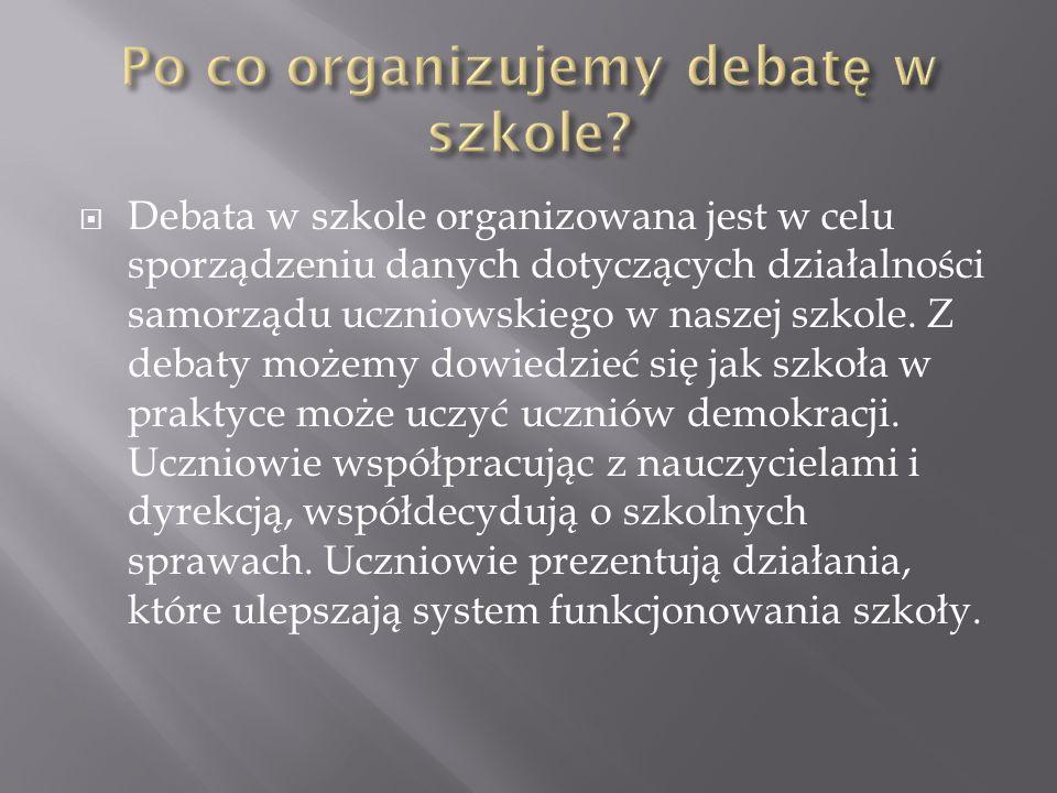 Debata w szkole organizowana jest w celu sporządzeniu danych dotyczących działalności samorządu uczniowskiego w naszej szkole. Z debaty możemy dowiedz