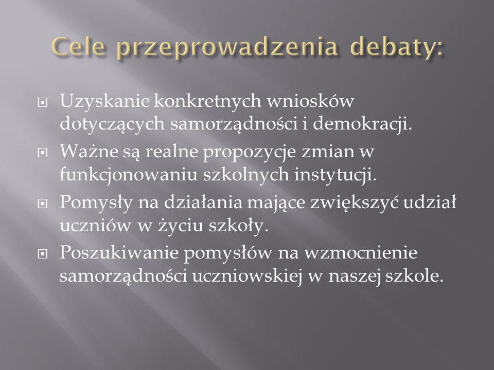 Uzyskanie konkretnych wniosków dotyczących samorządności i demokracji.