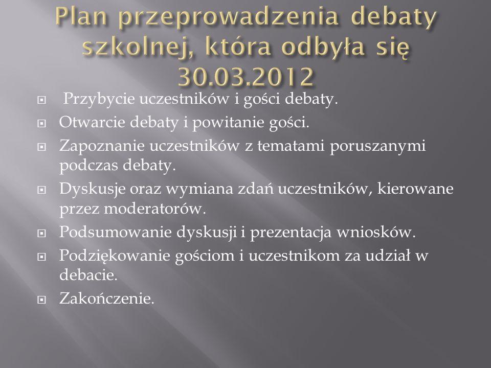Przybycie uczestników i gości debaty.Otwarcie debaty i powitanie gości.
