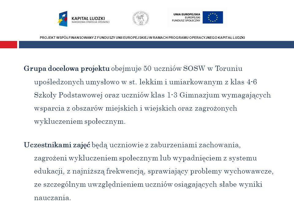 PROJEKT WSPÓŁFINANSOWANY Z FUNDUSZY UNII EUROPEJSKIEJ W RAMACH PROGRAMU OPERACYJNEGO KAPITAŁ LUDZKI Numer i nazwa Priorytetu PO Grupa docelowa projektu obejmuje 50 uczniów SOSW w Toruniu upośledzonych umysłowo w st.