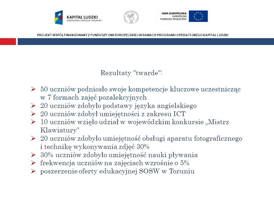 PROJEKT WSPÓŁFINANSOWANY Z FUNDUSZY UNII EUROPEJSKIEJ W RAMACH PROGRAMU OPERACYJNEGO KAPITAŁ LUDZKI Rezultaty