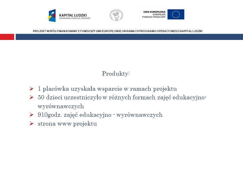 PROJEKT WSPÓŁFINANSOWANY Z FUNDUSZY UNII EUROPEJSKIEJ W RAMACH PROGRAMU OPERACYJNEGO KAPITAŁ LUDZKI Produkty: 1 placówka uzyskała wsparcie w ramach pr