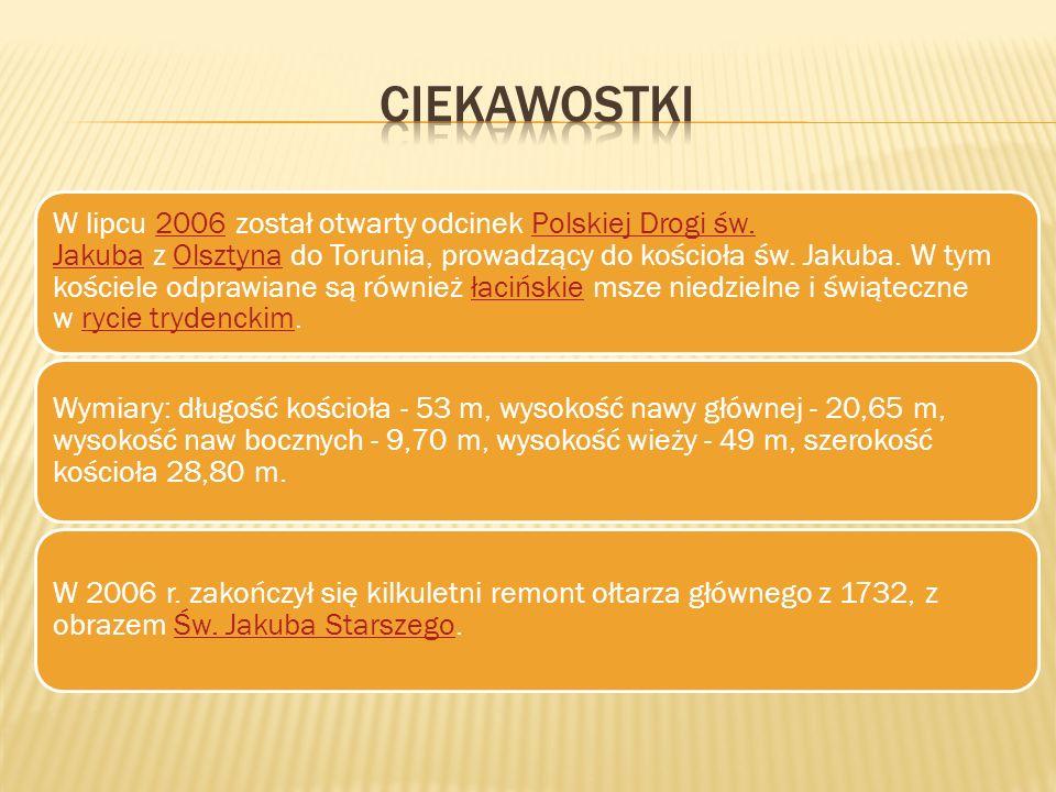 W lipcu 2006 został otwarty odcinek Polskiej Drogi św. Jakuba z Olsztyna do Torunia, prowadzący do kościoła św. Jakuba. W tym kościele odprawiane są r