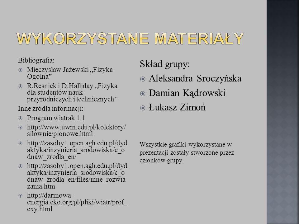 Bibliografia: Mieczysław Jażewski Fizyka Ogólna R.Resnick i D.Halliday Fizyka dla studentów nauk przyrodniczych i technicznych Inne źródła informacji: