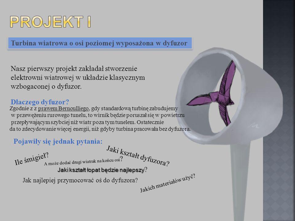 Turbina wiatrowa o osi poziomej wyposażona w dyfuzor Nasz pierwszy projekt zakładał stworzenie elektrowni wiatrowej w układzie klasycznym wzbogaconej
