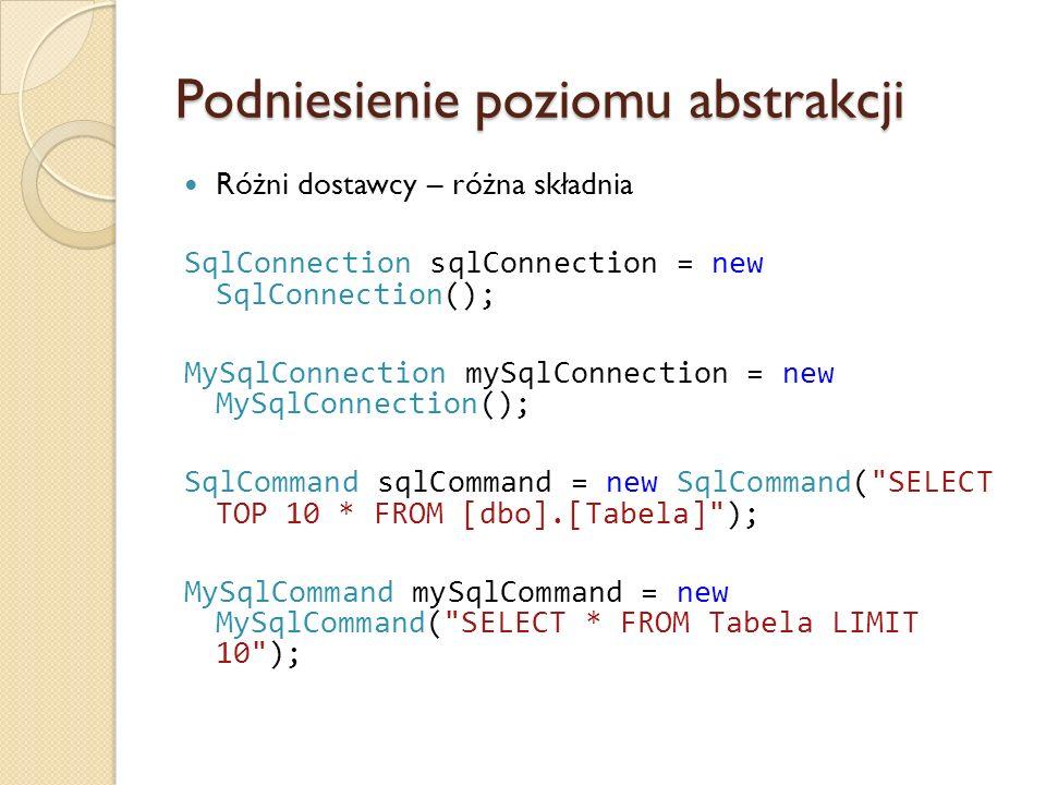 Podniesienie poziomu abstrakcji Różni dostawcy – różna składnia SqlConnection sqlConnection = new SqlConnection(); MySqlConnection mySqlConnection = new MySqlConnection(); SqlCommand sqlCommand = new SqlCommand( SELECT TOP 10 * FROM [dbo].[Tabela] ); MySqlCommand mySqlCommand = new MySqlCommand( SELECT * FROM Tabela LIMIT 10 );