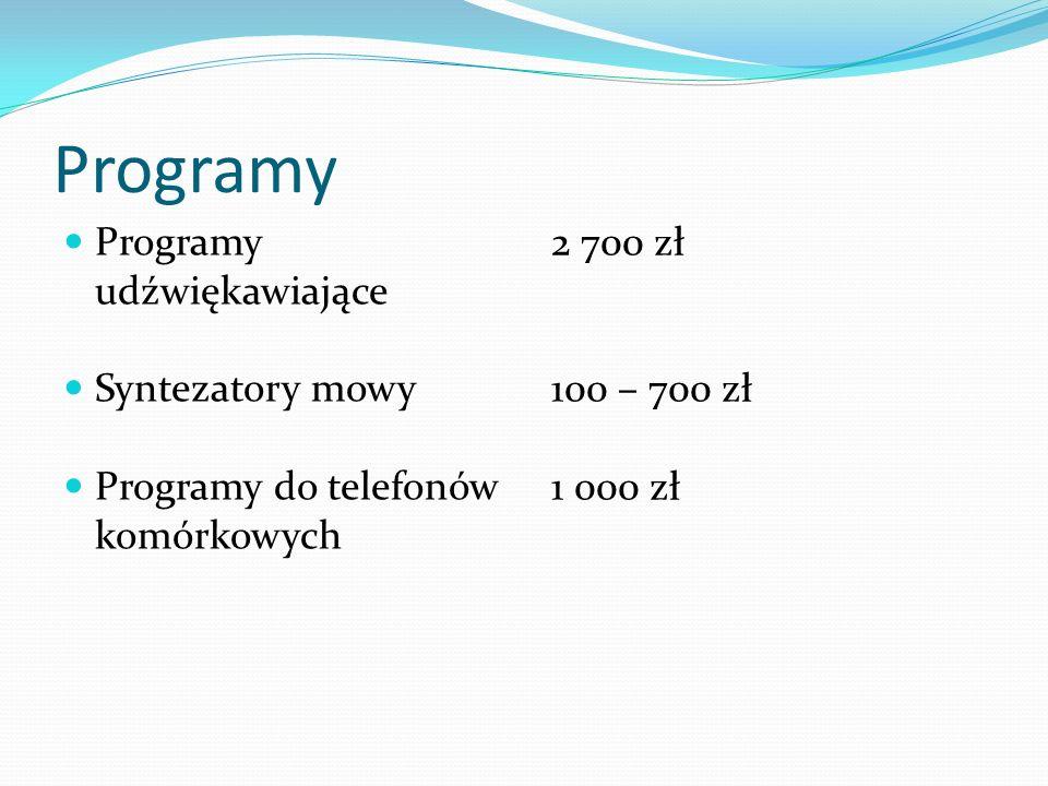 Programy Programy udźwiękawiające Syntezatory mowy Programy do telefonów komórkowych 2 700 zł 100 – 700 zł 1 000 zł