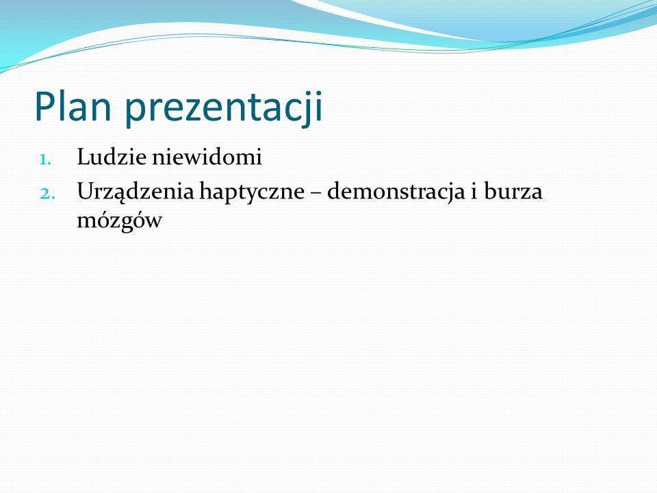 Plan prezentacji 1. Ludzie niewidomi 2. Urządzenia haptyczne – demonstracja i burza mózgów