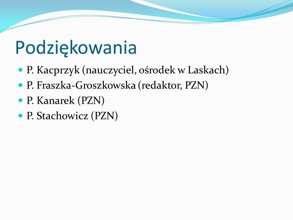 Podziękowania P. Kacprzyk (nauczyciel, ośrodek w Laskach) P. Fraszka-Groszkowska (redaktor, PZN) P. Kanarek (PZN) P. Stachowicz (PZN)