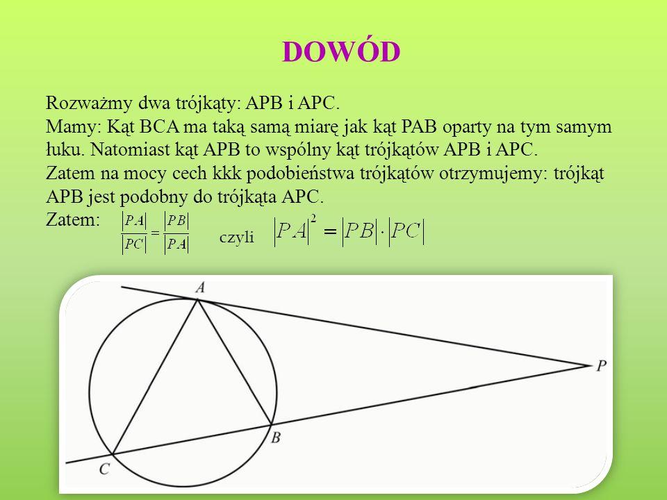 Niech będzie dany okrąg o(O, r) oraz punkt P taki, że PO > r.