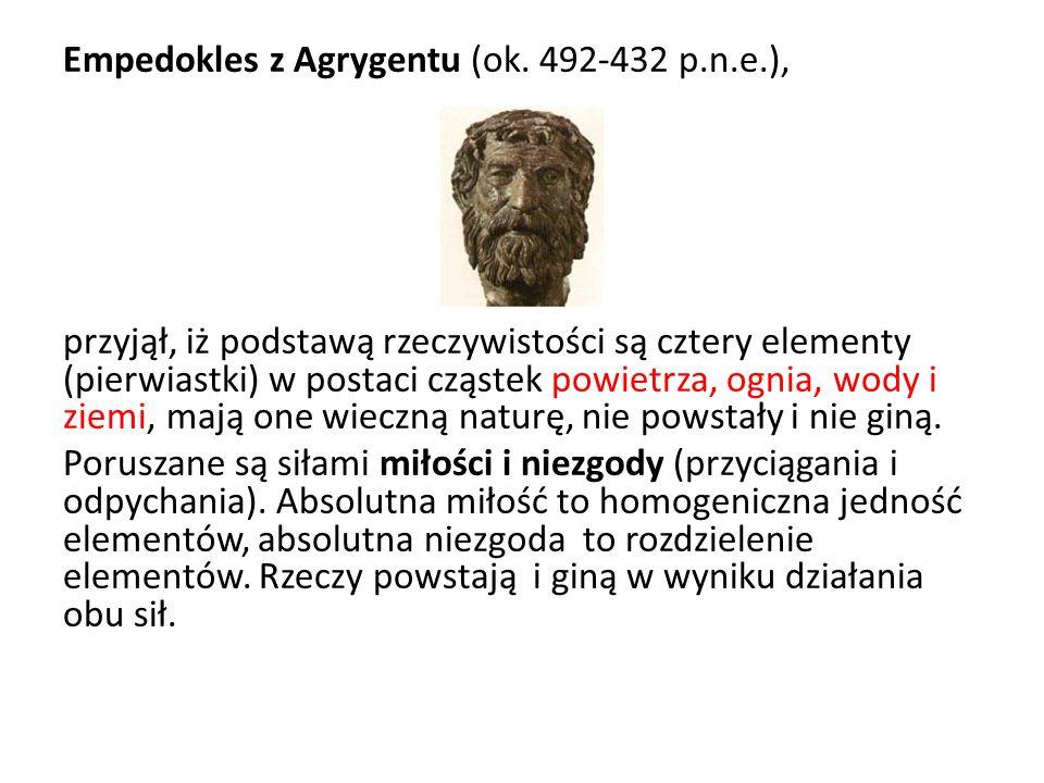 Empedokles z Agrygentu (ok. 492-432 p.n.e.), przyjął, iż podstawą rzeczywistości są cztery elementy (pierwiastki) w postaci cząstek powietrza, ognia,