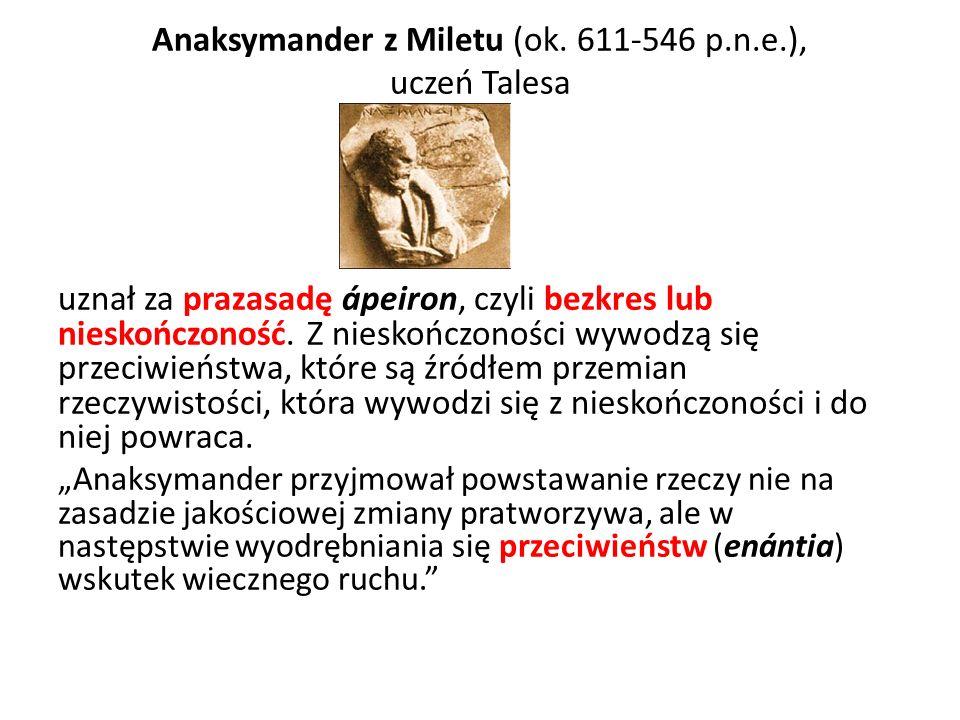 Anaksymander z Miletu (ok. 611-546 p.n.e.), uczeń Talesa uznał za prazasadę ápeiron, czyli bezkres lub nieskończoność. Z nieskończoności wywodzą się p