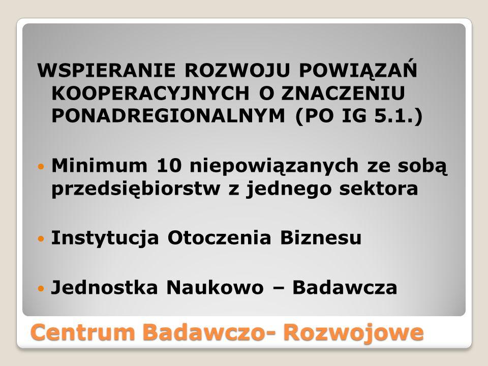 Centrum Badawczo- Rozwojowe WSPIERANIE ROZWOJU POWIĄZAŃ KOOPERACYJNYCH O ZNACZENIU PONADREGIONALNYM (PO IG 5.1.) Minimum 10 niepowiązanych ze sobą prz