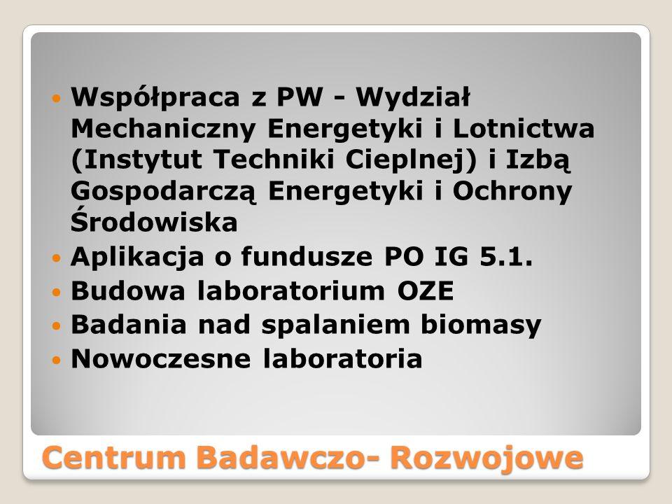 Centrum Badawczo- Rozwojowe Współpraca z PW - Wydział Mechaniczny Energetyki i Lotnictwa (Instytut Techniki Cieplnej) i Izbą Gospodarczą Energetyki i Ochrony Środowiska Aplikacja o fundusze PO IG 5.1.