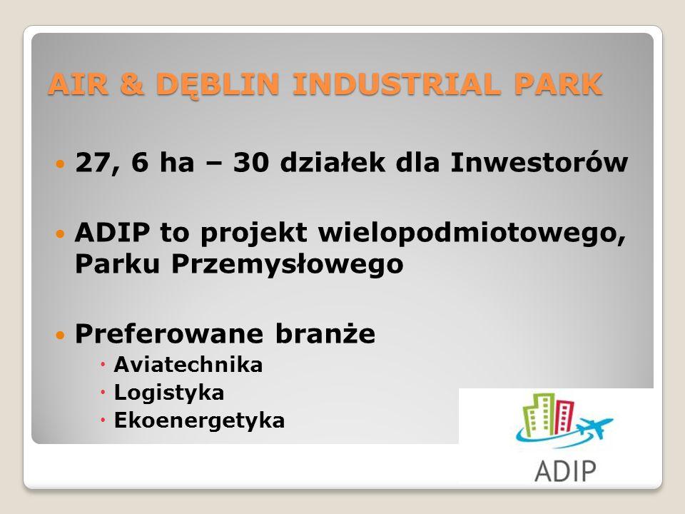 27, 6 ha – 30 działek dla Inwestorów ADIP to projekt wielopodmiotowego, Parku Przemysłowego Preferowane branże Aviatechnika Logistyka Ekoenergetyka AIR & DĘBLIN INDUSTRIAL PARK