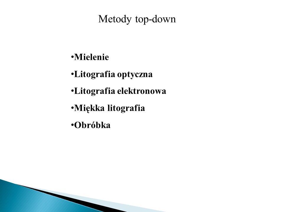 Metody top-down Mielenie Litografia optyczna Litografia elektronowa Miękka litografia Obróbka