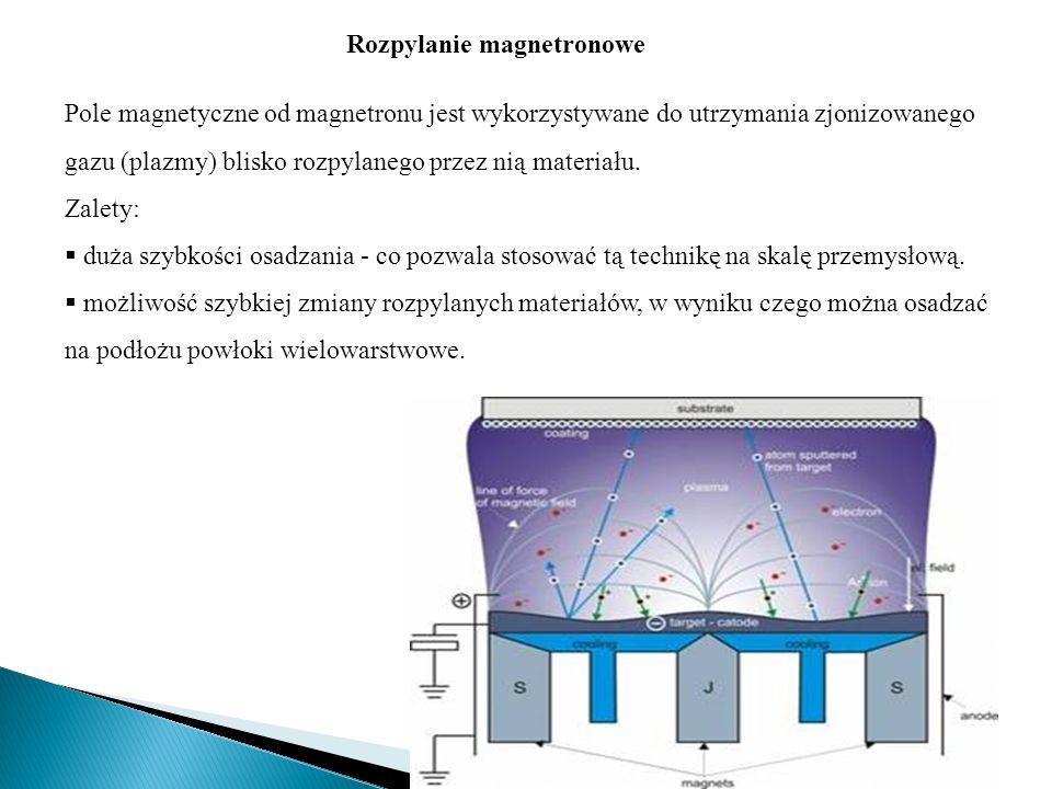 Pole magnetyczne od magnetronu jest wykorzystywane do utrzymania zjonizowanego gazu (plazmy) blisko rozpylanego przez nią materiału.