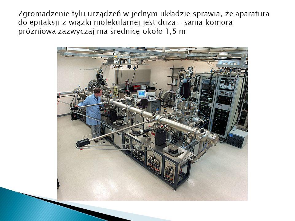 Zgromadzenie tylu urządzeń w jednym układzie sprawia, że aparatura do epitaksji z wiązki molekularnej jest duża – sama komora próżniowa zazwyczaj ma średnicę około 1,5 m