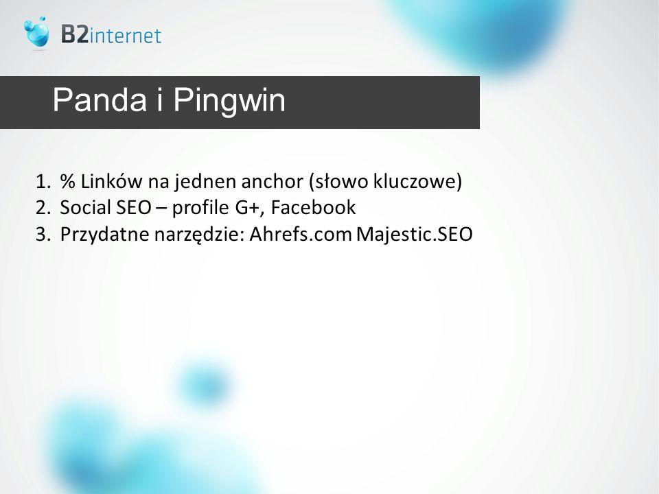 Panda i Pingwin 1.% Linków na jednen anchor (słowo kluczowe) 2.Social SEO – profile G+, Facebook 3.Przydatne narzędzie: Ahrefs.com Majestic.SEO