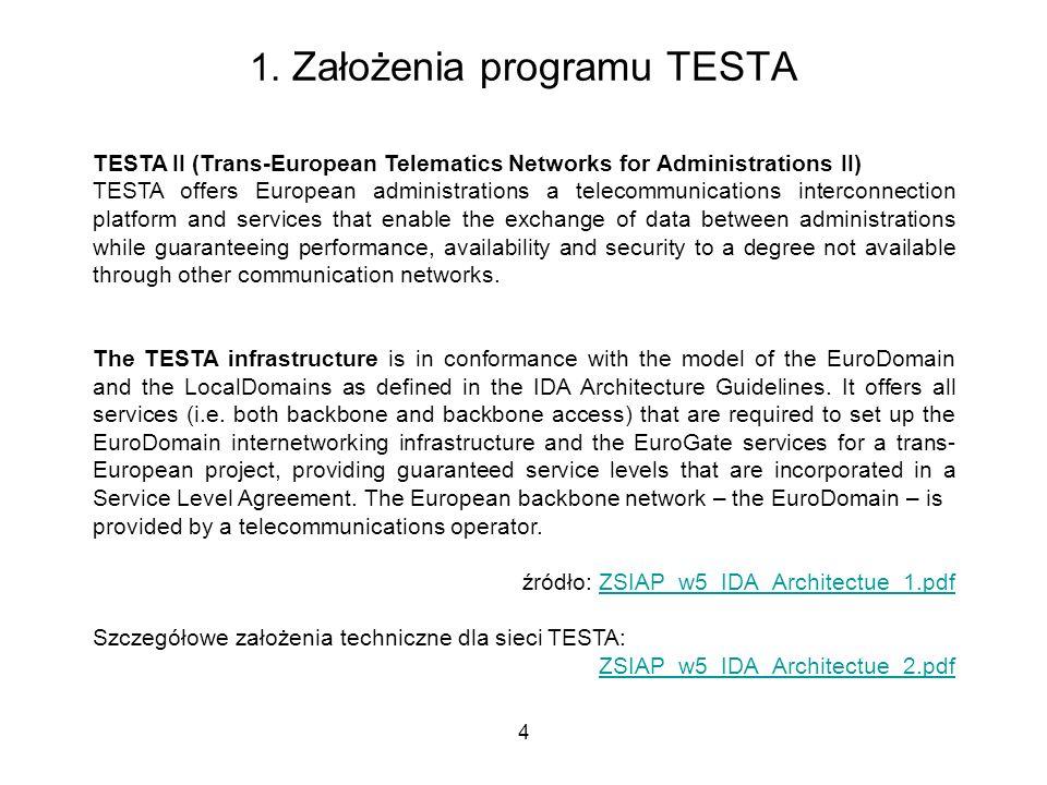 4 1. Założenia programu TESTA TESTA II (Trans-European Telematics Networks for Administrations II) TESTA offers European administrations a telecommuni