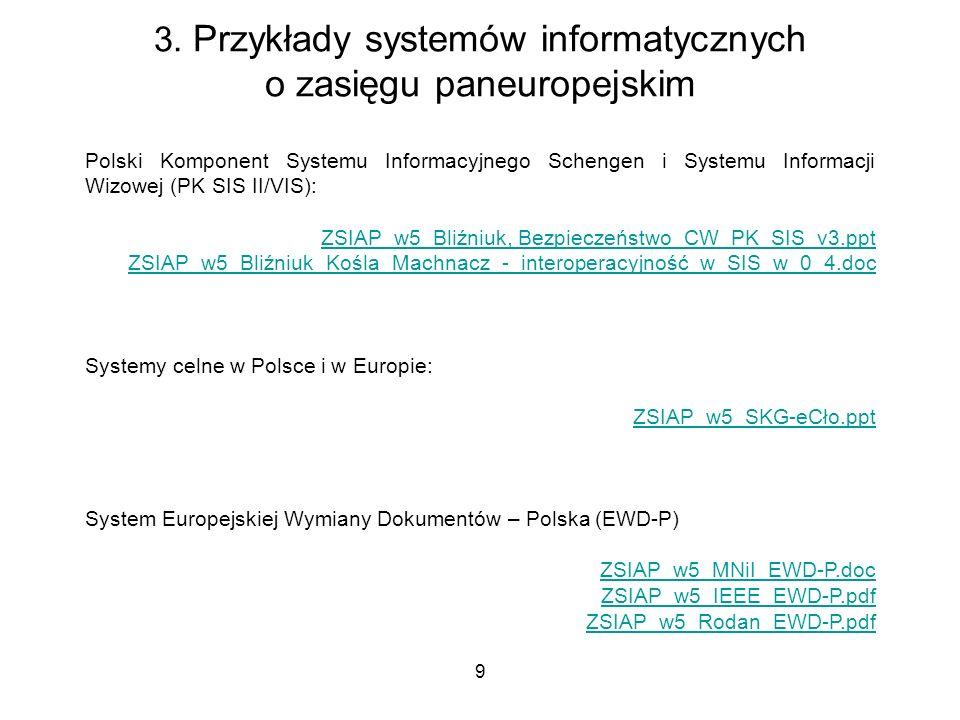 9 3. Przykłady systemów informatycznych o zasięgu paneuropejskim Polski Komponent Systemu Informacyjnego Schengen i Systemu Informacji Wizowej (PK SIS