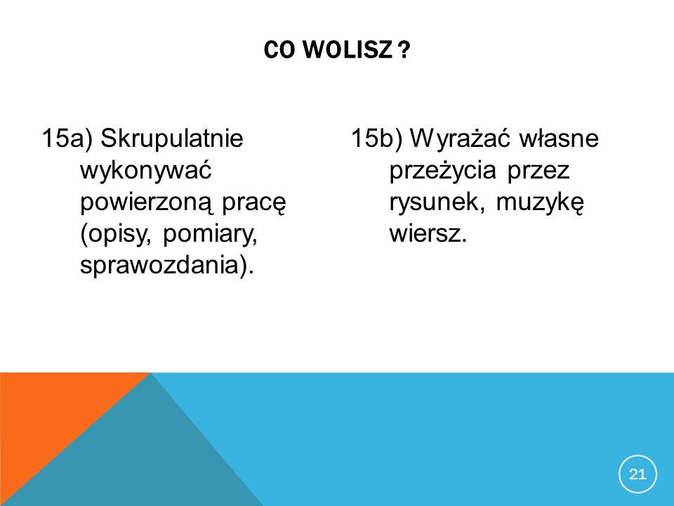 22 CO WOLISZ .16a) Wykonywać analizy laboratoryjne.
