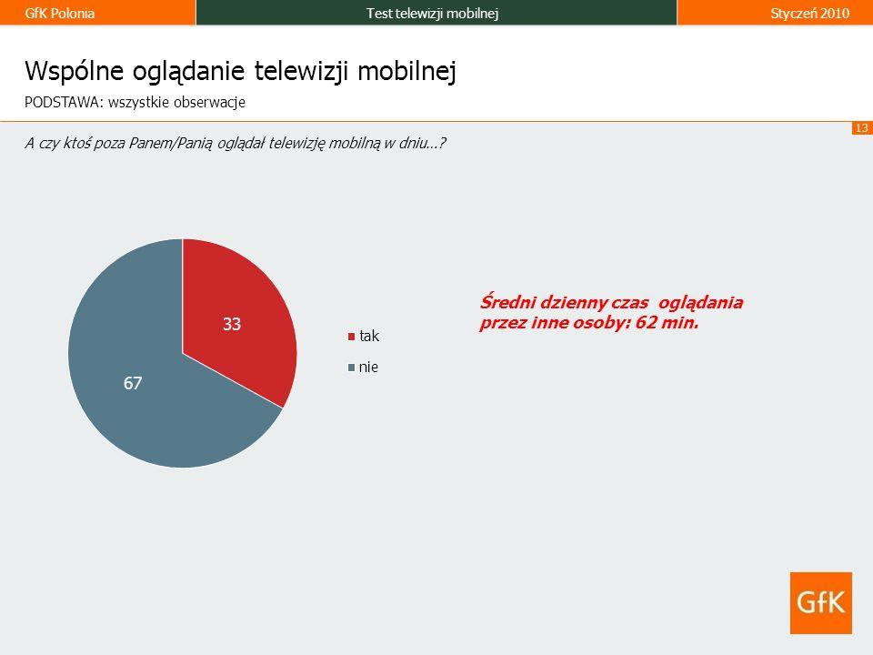 GfK PoloniaTest telewizji mobilnejStyczeń 2010 13 Wspólne oglądanie telewizji mobilnej A czy ktoś poza Panem/Panią oglądał telewizję mobilną w dniu….