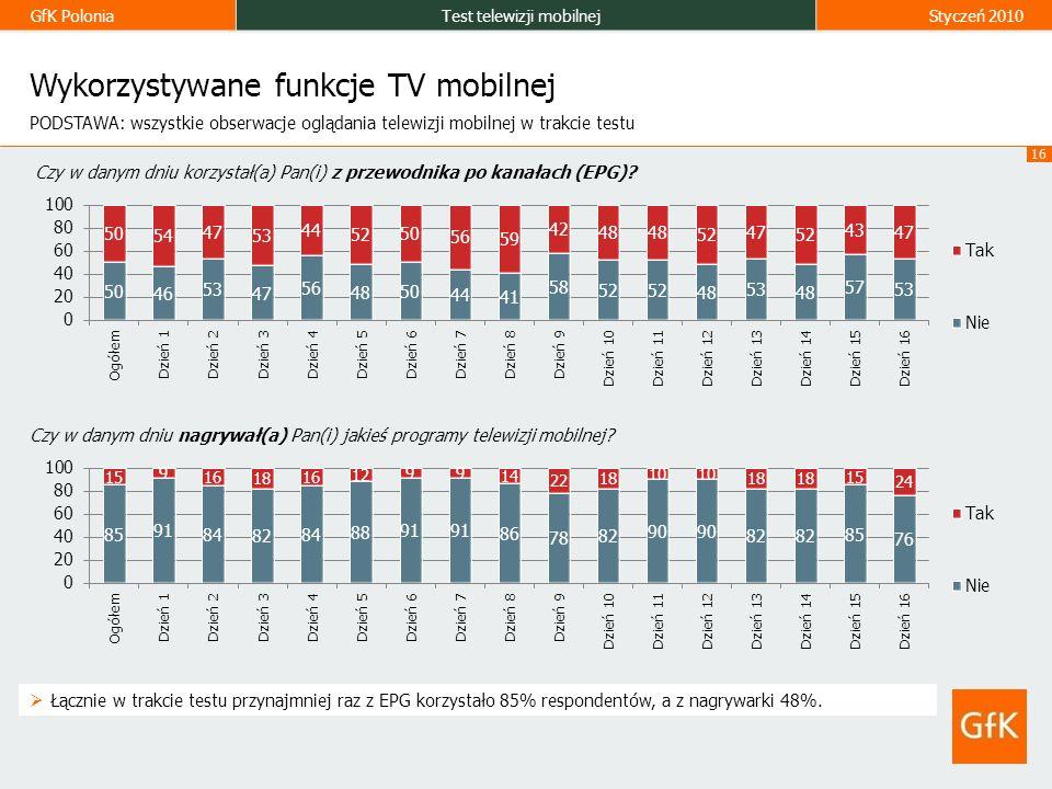 GfK PoloniaTest telewizji mobilnejStyczeń 2010 16 Wykorzystywane funkcje TV mobilnej Czy w danym dniu korzystał(a) Pan(i) z przewodnika po kanałach (EPG).