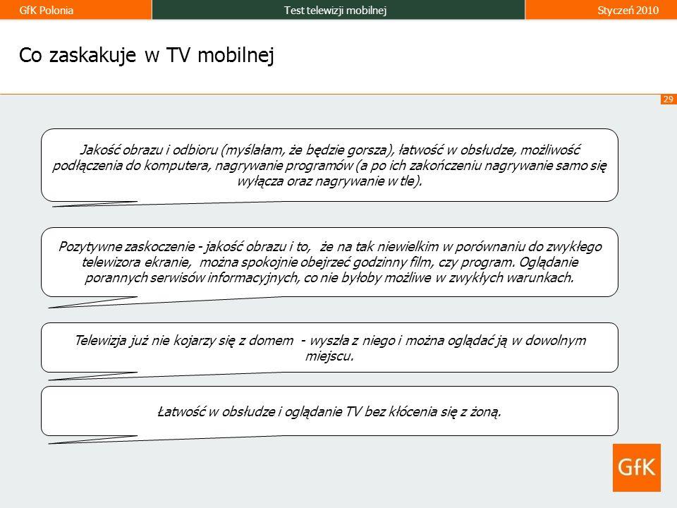 GfK PoloniaTest telewizji mobilnejStyczeń 2010 29 Co zaskakuje w TV mobilnej Jakość obrazu i odbioru (myślałam, że będzie gorsza), łatwość w obsłudze, możliwość podłączenia do komputera, nagrywanie programów (a po ich zakończeniu nagrywanie samo się wyłącza oraz nagrywanie w tle).
