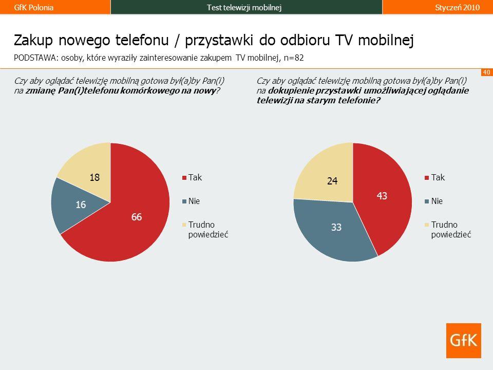 GfK PoloniaTest telewizji mobilnejStyczeń 2010 40 Zakup nowego telefonu / przystawki do odbioru TV mobilnej Czy aby oglądać telewizję mobilną gotowa był(a)by Pan(i) na zmianę Pan(i)telefonu komórkowego na nowy.