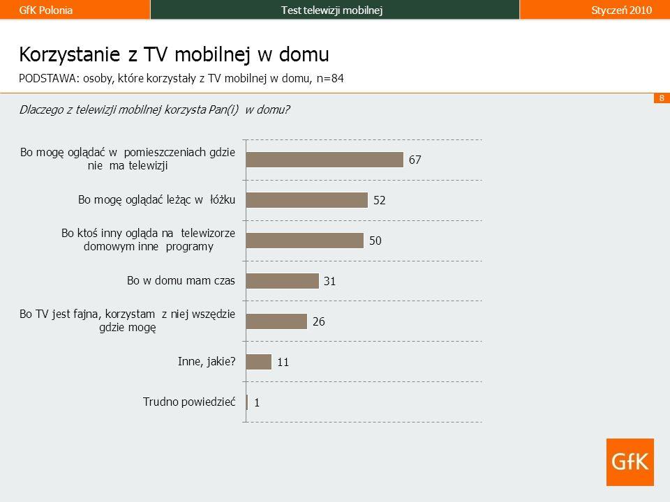 GfK PoloniaTest telewizji mobilnejStyczeń 2010 8 Korzystanie z TV mobilnej w domu Dlaczego z telewizji mobilnej korzysta Pan(i) w domu.