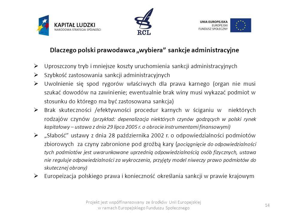 14 Dlaczego polski prawodawca wybiera sankcje administracyjne Uproszczony tryb i mniejsze koszty uruchomienia sankcji administracyjnych Szybkość zasto