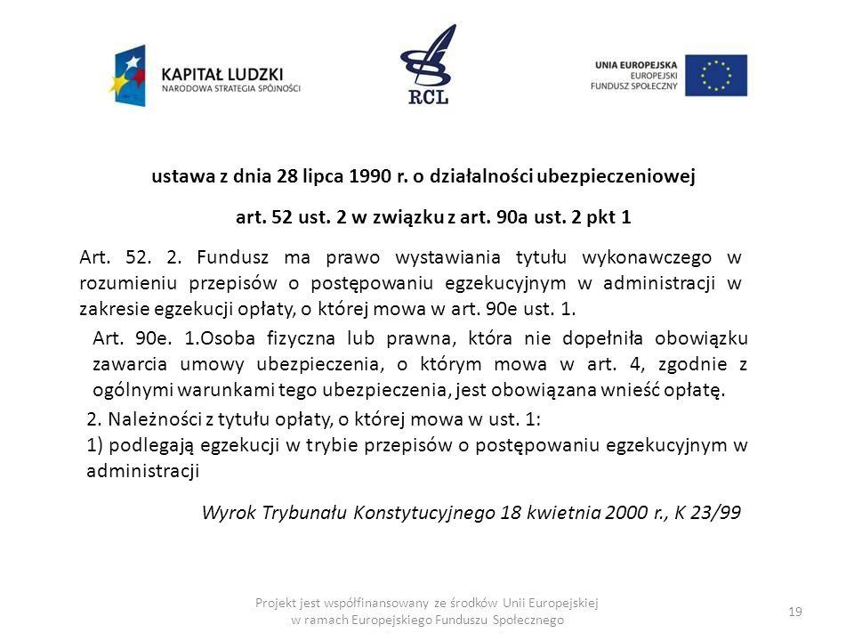19 ustawa z dnia 28 lipca 1990 r. o działalności ubezpieczeniowej art. 52 ust. 2 w związku z art. 90a ust. 2 pkt 1 Art. 52. 2. Fundusz ma prawo wystaw