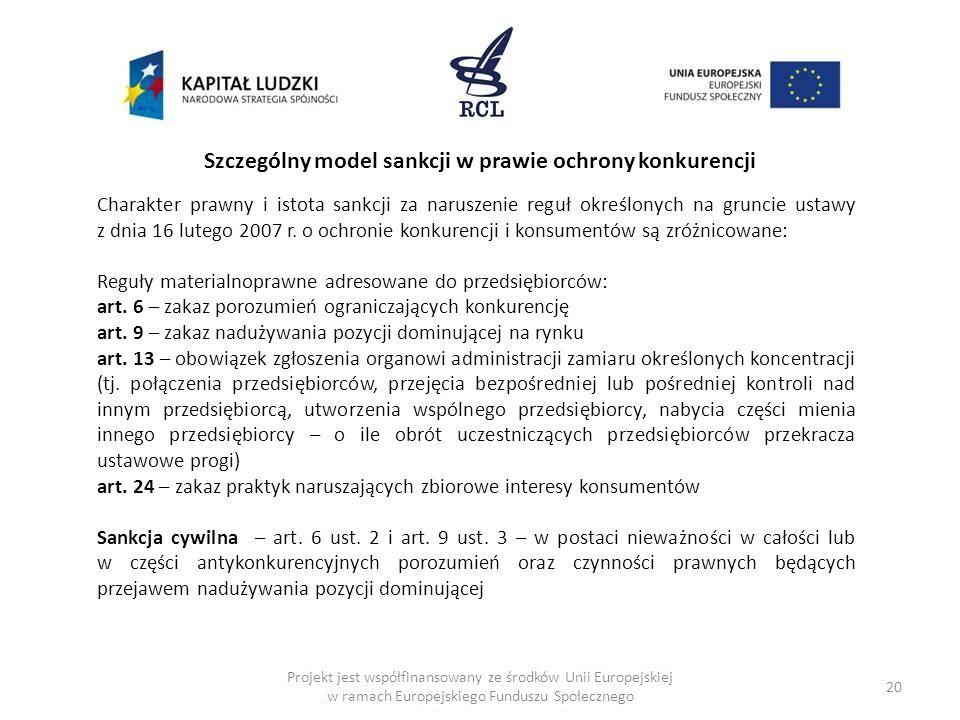 20 Szczególny model sankcji w prawie ochrony konkurencji Charakter prawny i istota sankcji za naruszenie reguł określonych na gruncie ustawy z dnia 16