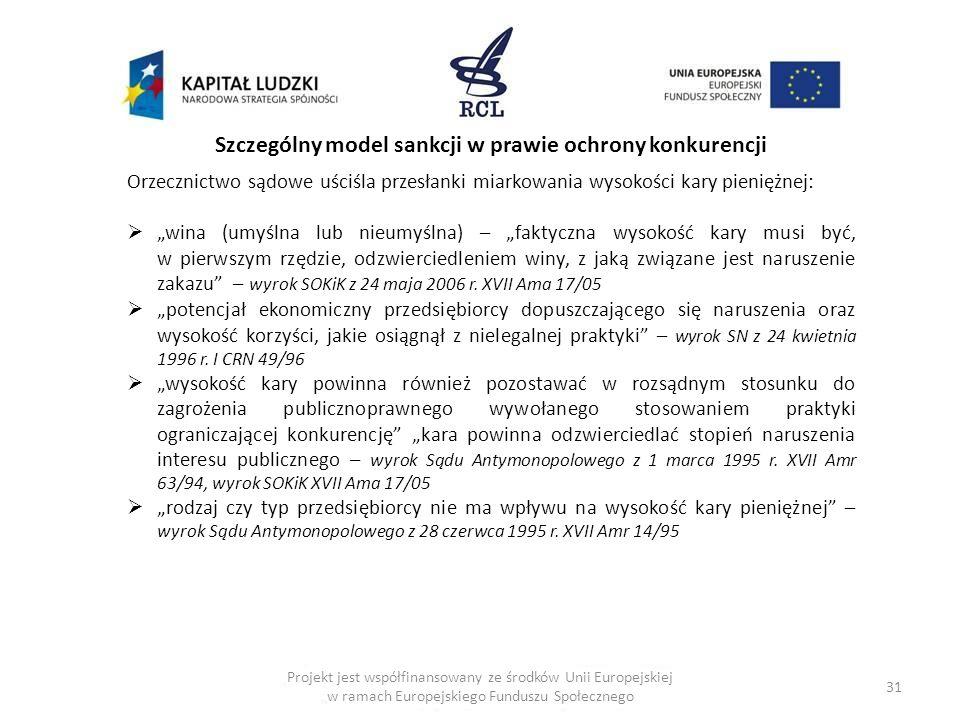31 Projekt jest współfinansowany ze środków Unii Europejskiej w ramach Europejskiego Funduszu Społecznego Szczególny model sankcji w prawie ochrony ko