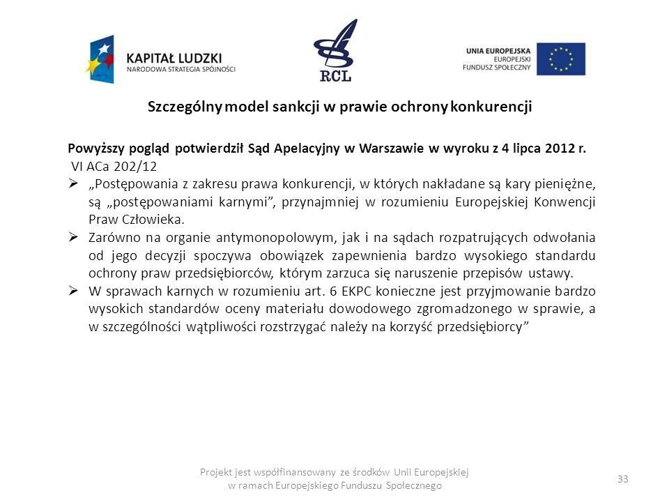 33 Projekt jest współfinansowany ze środków Unii Europejskiej w ramach Europejskiego Funduszu Społecznego Szczególny model sankcji w prawie ochrony ko