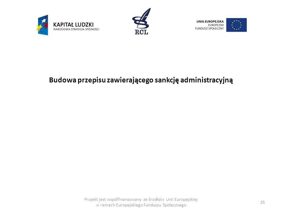 35 Budowa przepisu zawierającego sankcję administracyjną Projekt jest współfinansowany ze środków Unii Europejskiej w ramach Europejskiego Funduszu Sp