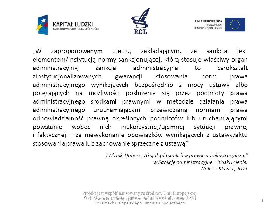 35 Budowa przepisu zawierającego sankcję administracyjną Projekt jest współfinansowany ze środków Unii Europejskiej w ramach Europejskiego Funduszu Społecznego