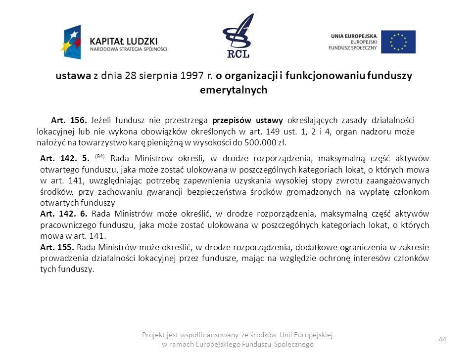 44 ustawa z dnia 28 sierpnia 1997 r. o organizacji i funkcjonowaniu funduszy emerytalnych Art. 156. Jeżeli fundusz nie przestrzega przepisów ustawy ok