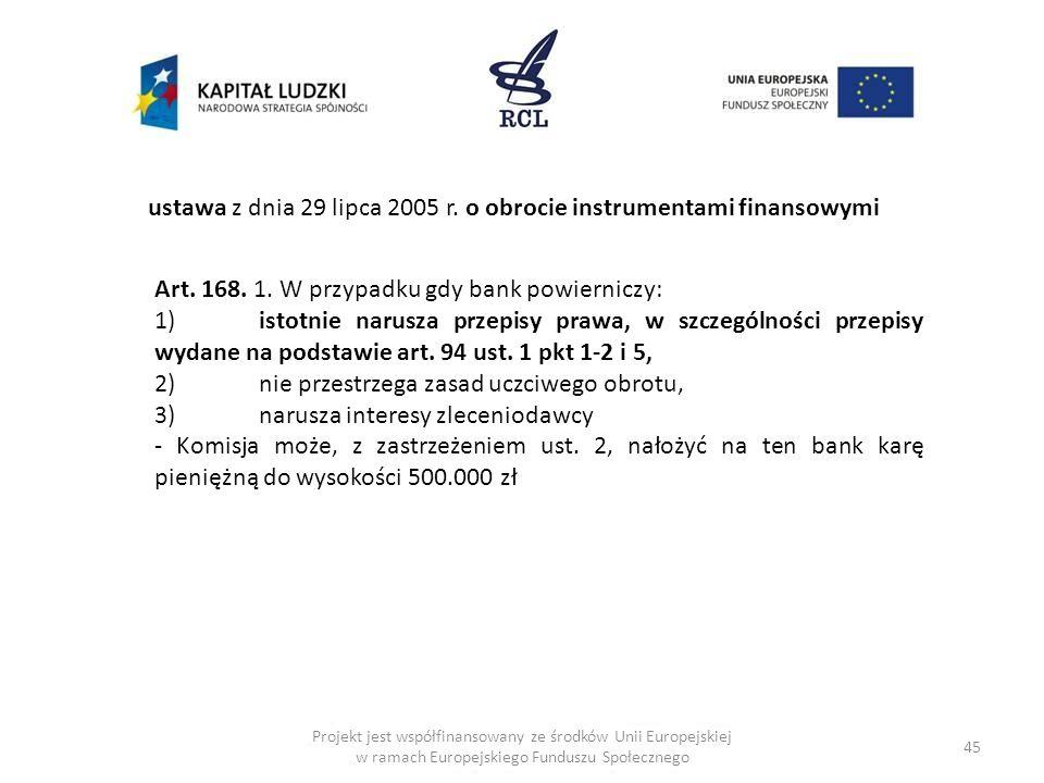 45 ustawa z dnia 29 lipca 2005 r. o obrocie instrumentami finansowymi Art. 168. 1. W przypadku gdy bank powierniczy: 1)istotnie narusza przepisy prawa