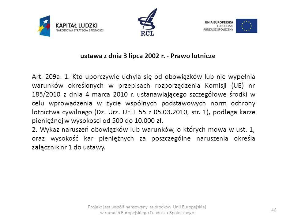 46 Art. 209a. 1. Kto uporczywie uchyla się od obowiązków lub nie wypełnia warunków określonych w przepisach rozporządzenia Komisji (UE) nr 185/2010 z