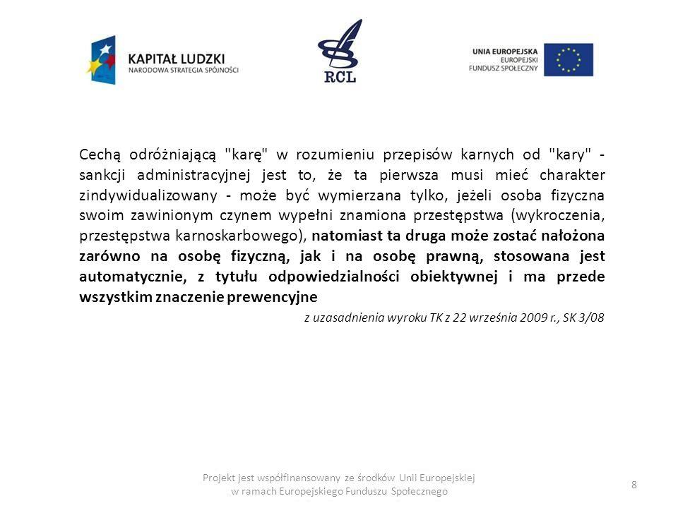 29 Projekt jest współfinansowany ze środków Unii Europejskiej w ramach Europejskiego Funduszu Społecznego Szczególny model sankcji w prawie ochrony konkurencji art.