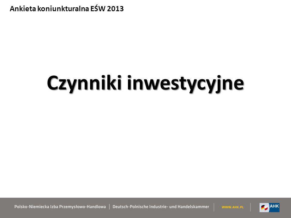 Czynniki inwestycyjne Ankieta koniunkturalna EŚW 2013