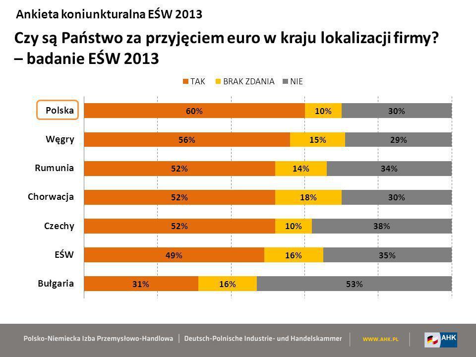 Czy są Państwo za przyjęciem euro w kraju lokalizacji firmy? – badanie EŚW 2013 Ankieta koniunkturalna EŚW 2013