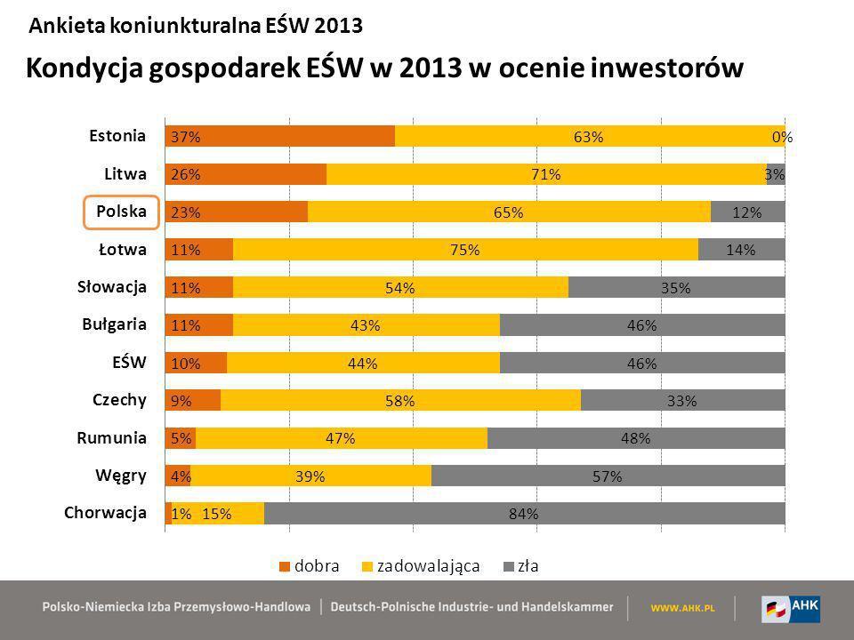 Kondycja gospodarek EŚW w 2013 w ocenie inwestorów Ankieta koniunkturalna EŚW 2013