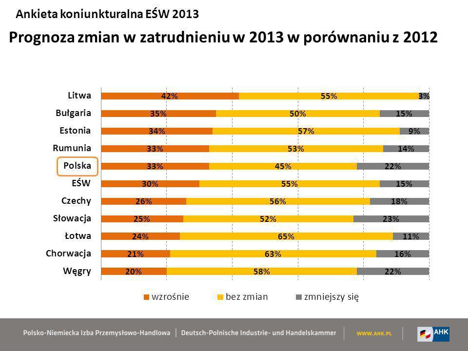Prognoza zmian w zatrudnieniu w 2013 w porównaniu z 2012 Ankieta koniunkturalna EŚW 2013