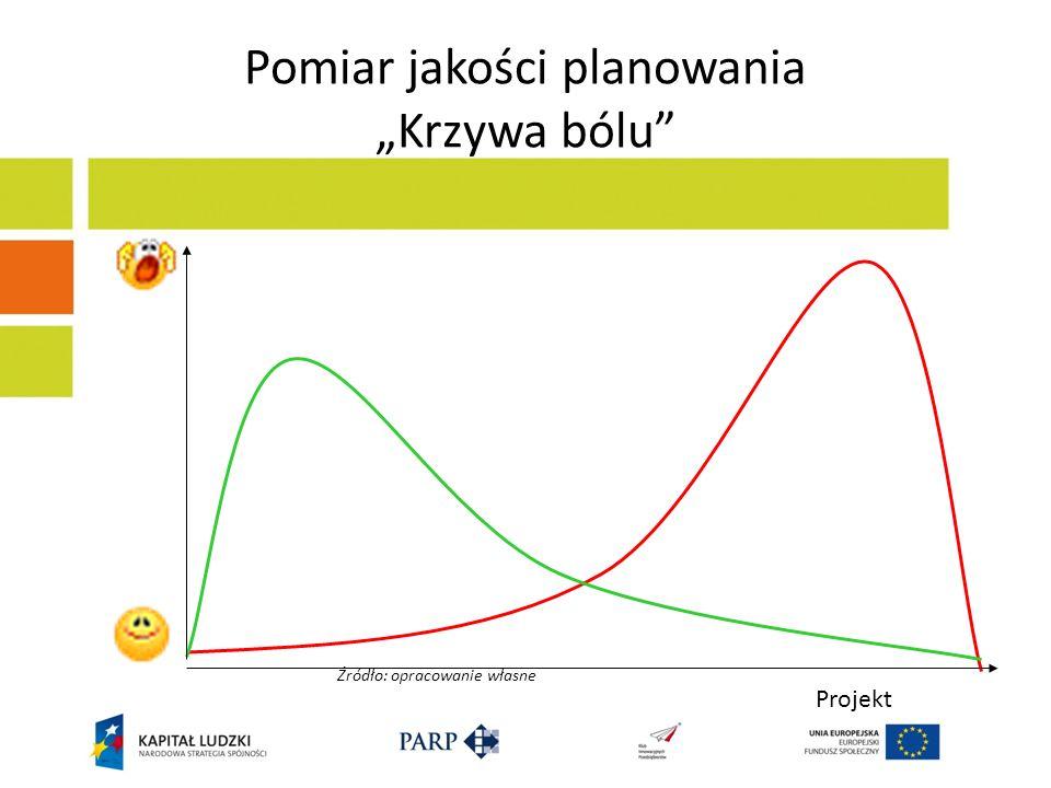 Pomiar jakości planowania Krzywa bólu Projekt Źródło: opracowanie własne