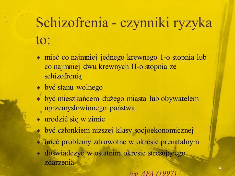 3 czym jest schizofreniaczym nie jest schizofrenia trzecią pod względem częstości psychozą - 1% ludzi choruje na sch. bardzo rzadką chorobą psychiczną