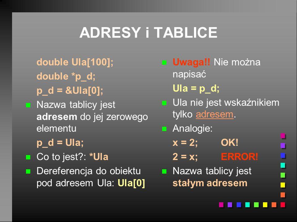 ADRESY i TABLICE double Ula[100]; double *p_d; p_d = &Ula[0]; n n Nazwa tablicy jest adresem do jej zerowego elementu p_d = Ula; n n Co to jest?: *Ula