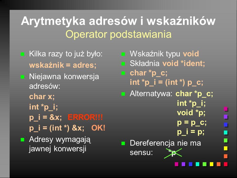 Arytmetyka adresów i wskaźników Operator podstawiania n n Kilka razy to już było: wskaźnik = adres; n n Niejawna konwersja adresów: char x; int *p_i; p_i = &x;ERROR!!.